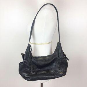 The Sak Black Genuine Leather Hobo Shoulder Bag